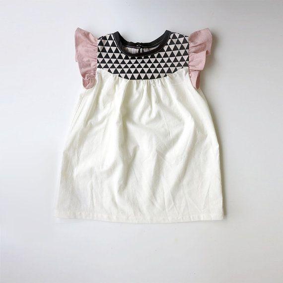 girls' cotton dress with geo print detail