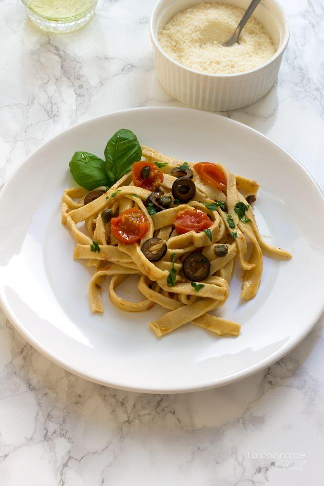 Tagliatelle alla puttanesca - Home made pasta