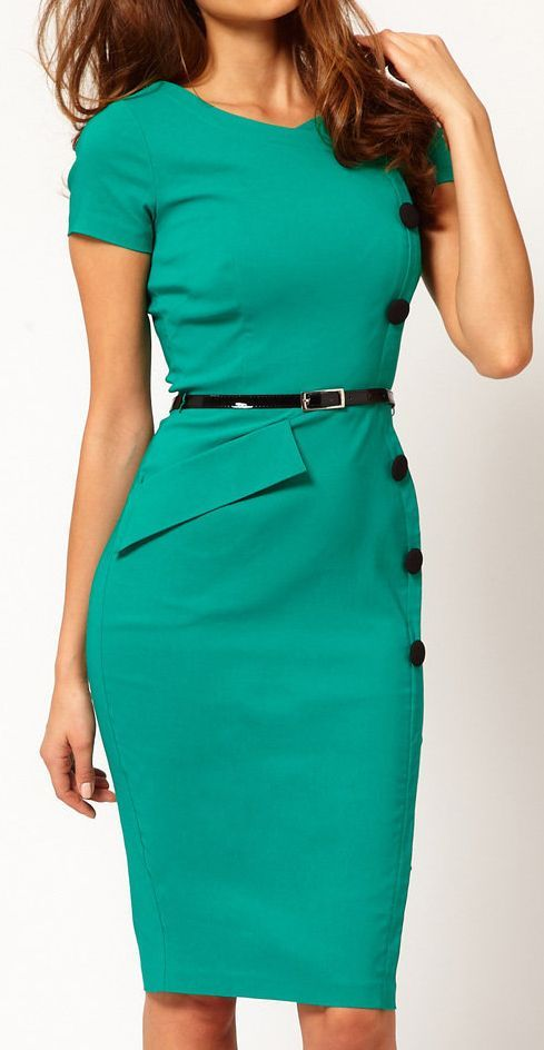 Teal Belted Pencil Dress //