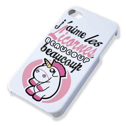 Coque pour iPhone 5 J'aime Les Licornes Beaucoup Beaucoup - Chamalow Shop