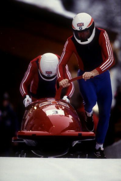 Team GB's Mark Tout (front and Paul Lenox (back) at the start of their 2 man bob-sleigh run at the 1992 winter Olympic Games in Albertville.