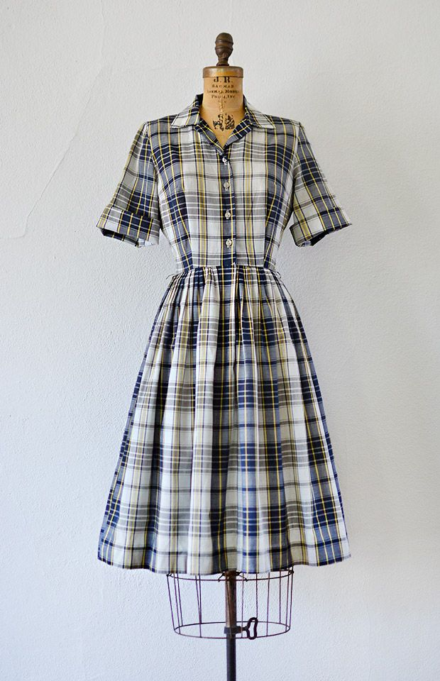 vintage 1950s classic grey navy plaid shirt dress [Scholarly Statements Dress] - $128.00 : ADORED | VINTAGE, Vintage Clothing Online Store