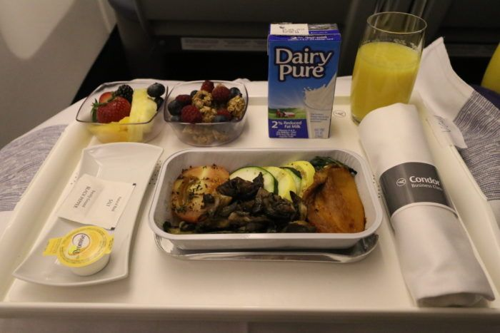 Condor Business Class breakfast