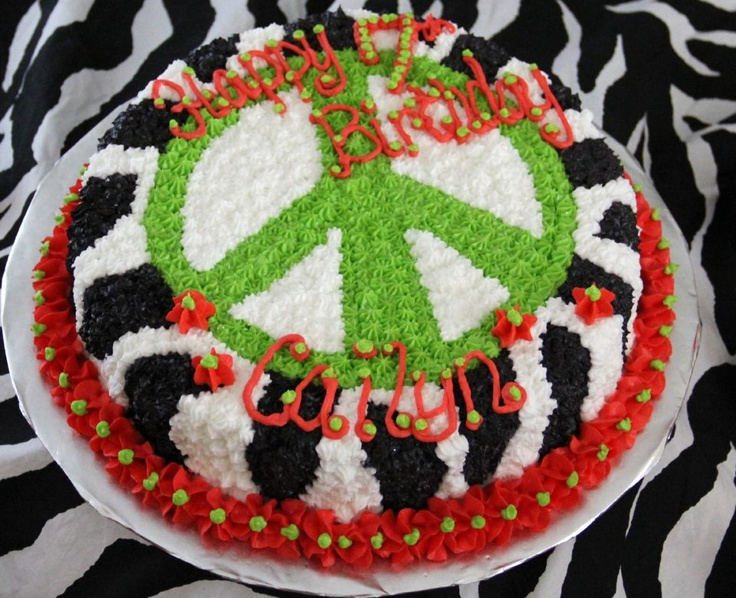 Birthday Cake Peace Sign