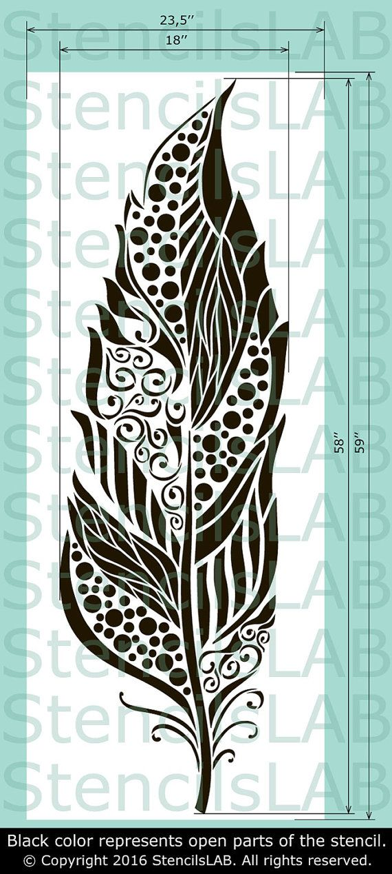 Large Feather Stencil Reusable feather by StencilsLabNY on Etsy
