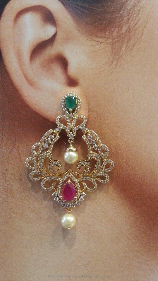 One Gram Gold Ruby Emerald Earrings, Ruby Emerald Earrings, One Gram Gold Earrings 2016.