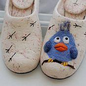 """Обувь ручной работы. Ярмарка Мастеров - ручная работа Валяные тапки  """"Птичка"""" тапочки шлёпки Вещий войлок. Handmade."""