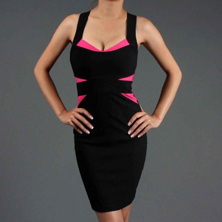 Black Pink Fitted Bandage Club Cocktail Mini Dress