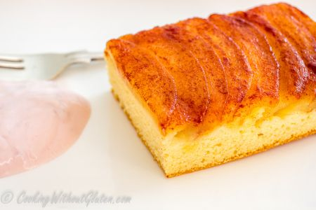 Gluten free apple cake from dairy and oil free batter with apple puree