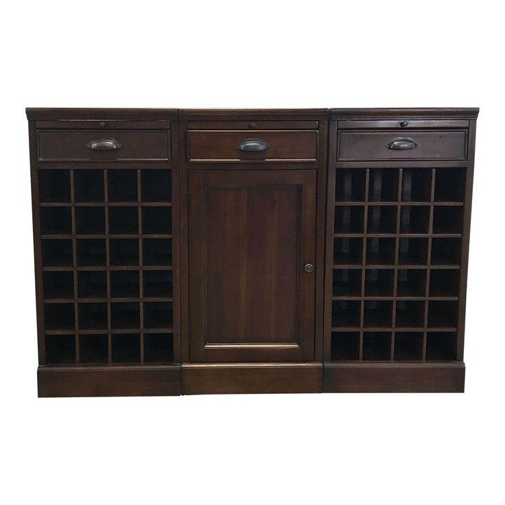 Pottery Barn Wood Wine Rack Cabinet - Image 1 of 4