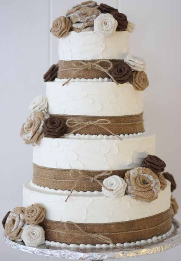 C175 wedding cake with burlap ribbon and