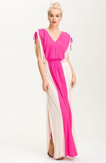 FELICITY & COCO Surplice Contrast Panel Jersey Maxi Dress | Nordstrom