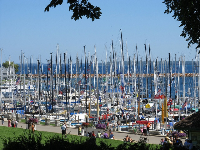 Sailboats in the Mackinac Harbor after the 2012 Chicago Yacht Club Race to Mackinac.: Photo