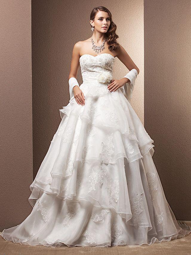 A-line/Princess Sweetheart Court Train Organza Wedding Dress - USD $249.99