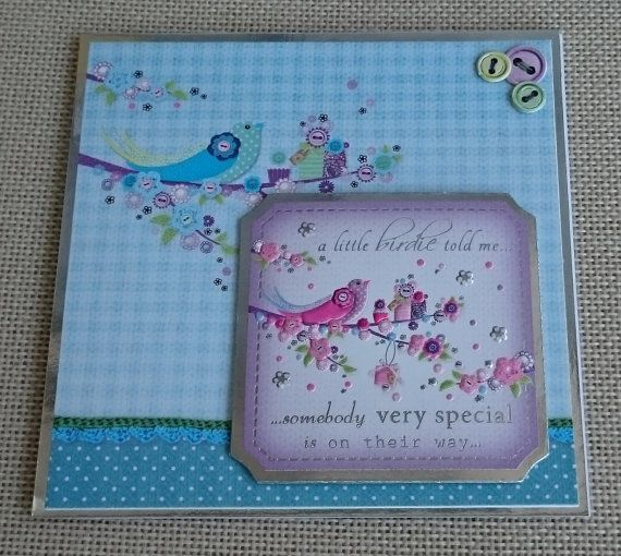 Handmade 5 x 5 Square Greeting Card  New Baby by BavsCrafts