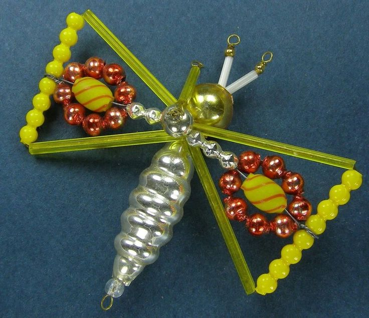 """Old Blown Hollow Glass Beads Wired Czech Christmas Decoration Yell. Butterfly 3"""""""