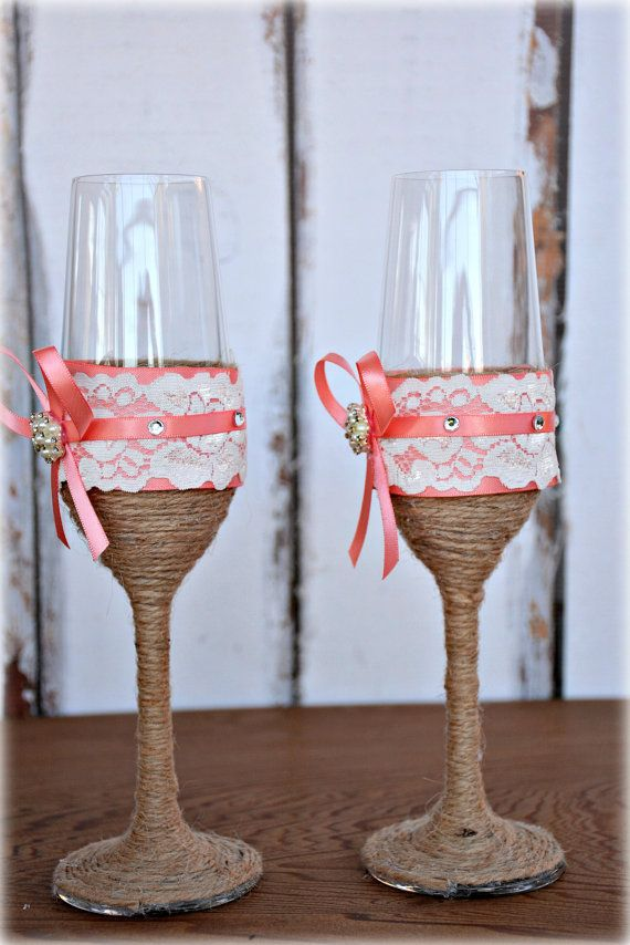 ☆ Coral Wedding Champagne Glasses Bride Groom Flutes Tosting Rustic Country Barn Burlap Lace Bridal Shower Gift  ☆ These toasting glasses are a perfect addition for a rustic country barn wedding  ☆ Glasses are wrapped and decorated with lace, burlap and pearl accents  ☆ Clear 8oz Lead Free Chrystal Glass, 10 inches high  ☆ Hand wash  Related items: Perfect Match Cake Server:  https://www.etsy.com/listing/201561678/coral-rustic-wedding-cake-knife-server?ref=shop_home_active_8