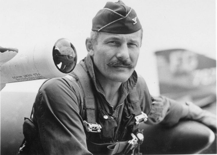 Colonel Robin Olds, F-4C Phantom II, 8th TFW Ubon-Rachitani RTAFB, 1968. Olds was a United States Air Force fighter pilot and triple ace with 17 victories in two wars. He flew 107 combat missions during World War II and 152 during the Vietnam War. He is an American Badass.