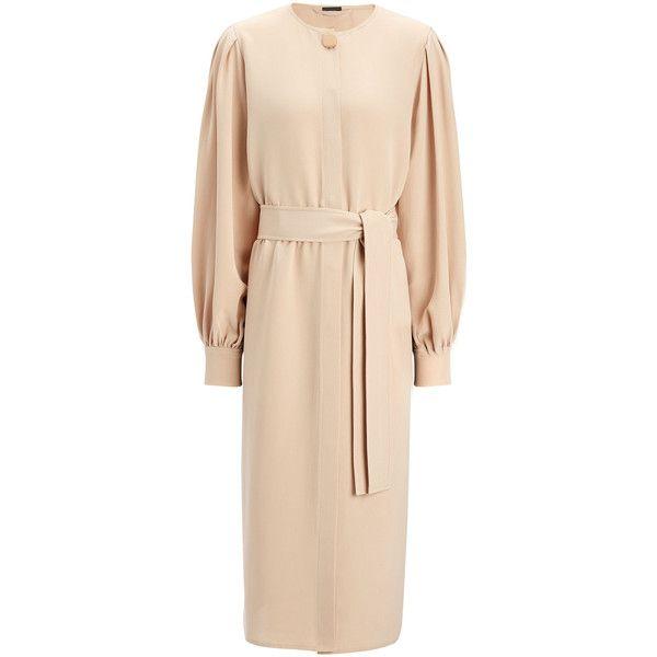 Joseph Matt Silk Nola Dress (4,915 CNY) found on Polyvore featuring women's fashion, dresses, fondant, wrap tie dress, long silk dress, long day dresses, beige long dress and joseph dresses