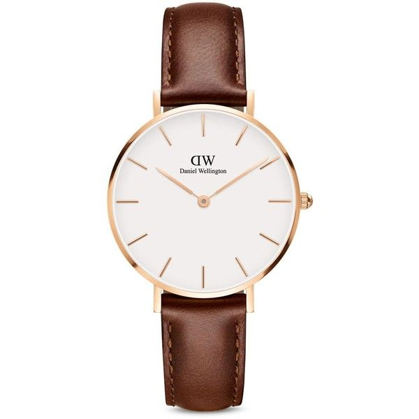 Daniel Wellington Classic Petite Leather Watch, 32mm (10,820 INR) ❤ liked on Polyvore featuring jewelry, watches, petite jewelry, leather wrist watch, daniel wellington, leather jewelry and leather watches