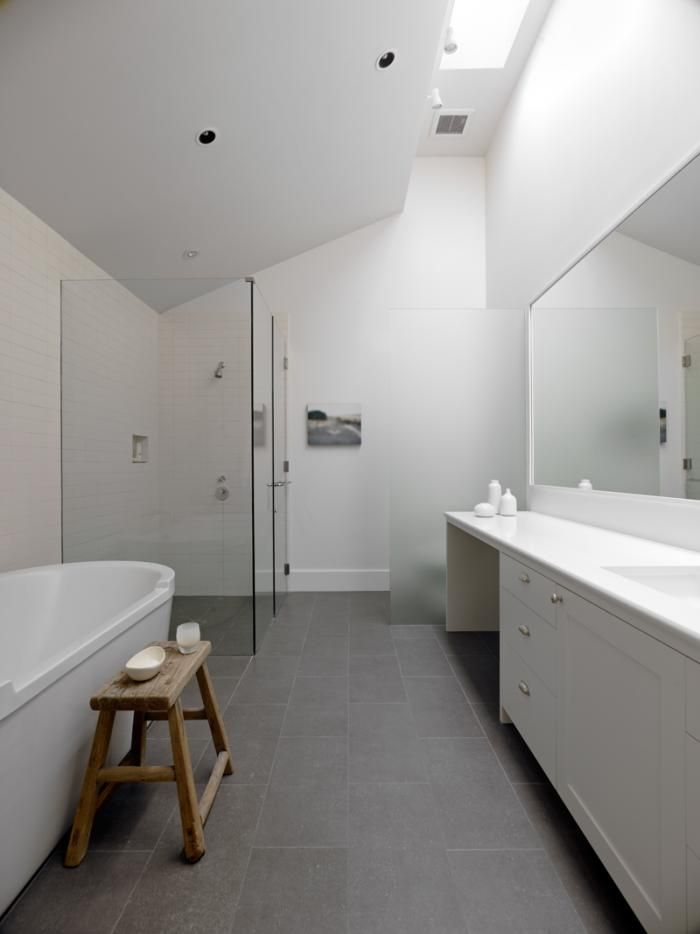 clean and modern gray and white bathroom. Min|Day-Sonoma-County-farmhouse-bathroom-gray-porcelain-tiles