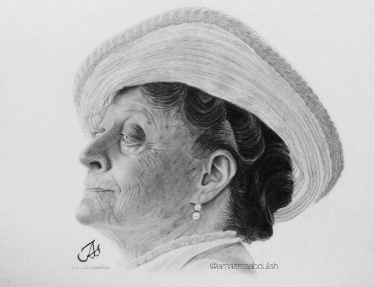 Portrait of Maggie Smith  by Asma'a Abdullah.   #art #artist #portrait #artists #chracoal #pencils #downtonabbey #ladygrantham #blackabdwhite #sketch #saudiarabia #middleeastArtist #
