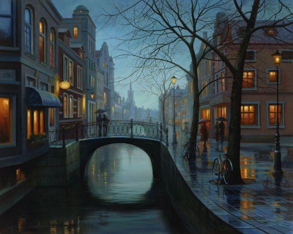 Rainy Evening - painting by Evgeny Lushpin