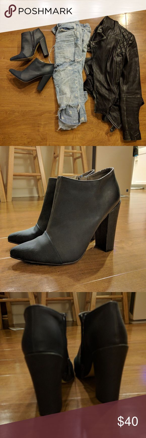 Size 7 navy ankle boots michael antonio Cute ankle boots only worn once, so like new condition.chunky heel Michael Antonio Shoes Ankle Boots & Booties