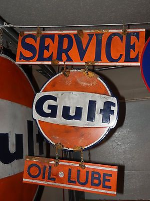 Antique Look Good Gulf Gas Station Pump Service Sign
