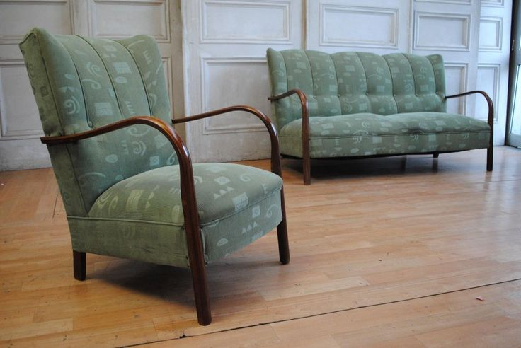 Rare Antique ART Deco Wing Back Lounge Suite Curved Timber Arms C1930'S in VIC | eBay