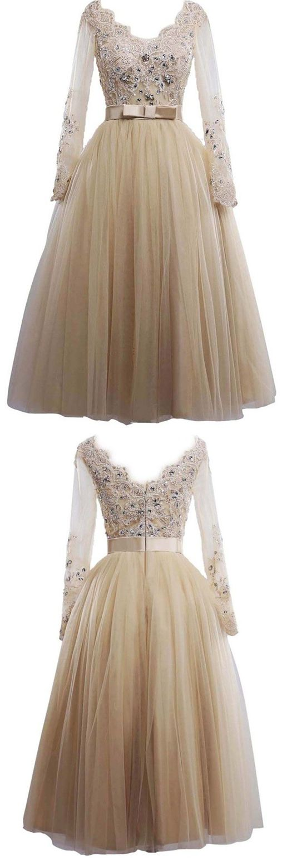 Vintage Scoop Long Sleeves Bride Dress, Lace Appliques Long Wedding Dress