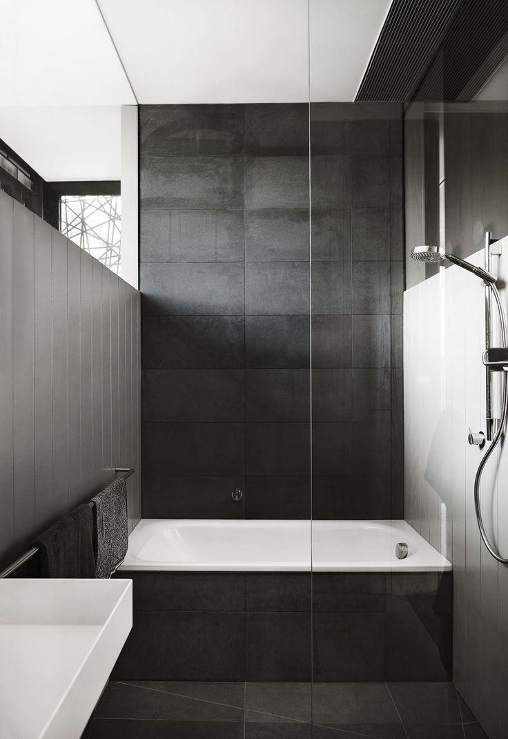 Black-and-white bathroom: matt black rectangular textured ...