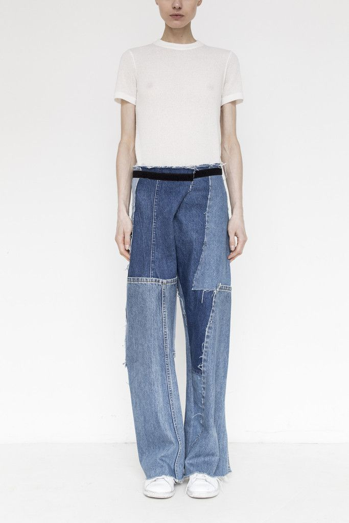 Assembly Denim Patchwork Simple Pant - Straight leg jeans with raw hem - Black velvet waistband accent and adjustable velcro closure -Please note, every garment is unique and made of hand picked vinta