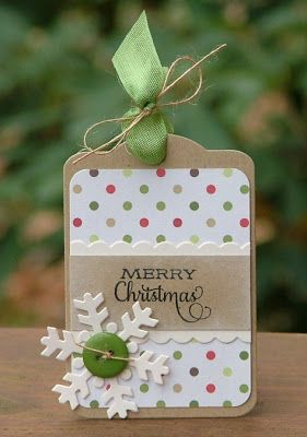 Merry Christmas tag with brown Kraft paper and polka dots