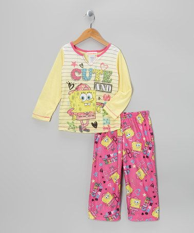 Take a look at this Yellow & Pink SpongeBob Pajama Set - Girls by Disney on #zulily today!