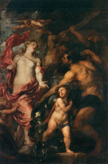Η Αφροδίτη ζητά απο τον Ηφαιστο να πετάξει τα όπλα για το γιο του Αινεία  (1630-32)