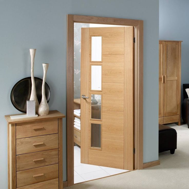 vancouver oak 4l door with clear glazed offset and a lacquer varnish finish - Interior Doors With Glass