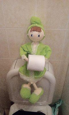 O Estaminé da Xé: Fofucha porta rolo papel higienico em verde