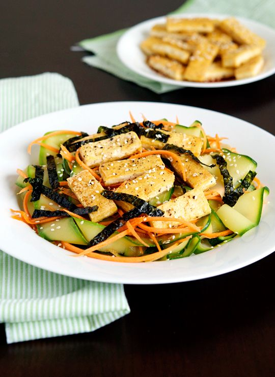 Zucchini Noodles with Pan-Fried Tofu: ginger + sesame seeds + carrot + soy sauce, sesame oil, rice vinegar, peanut oil + nori