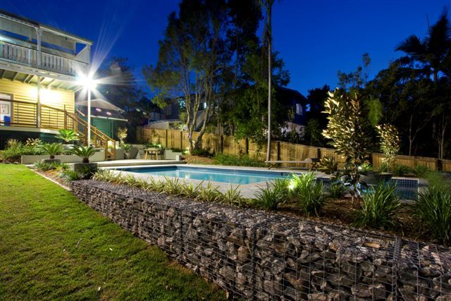 Landscape Design Brisbane. Gabion cage rock wall