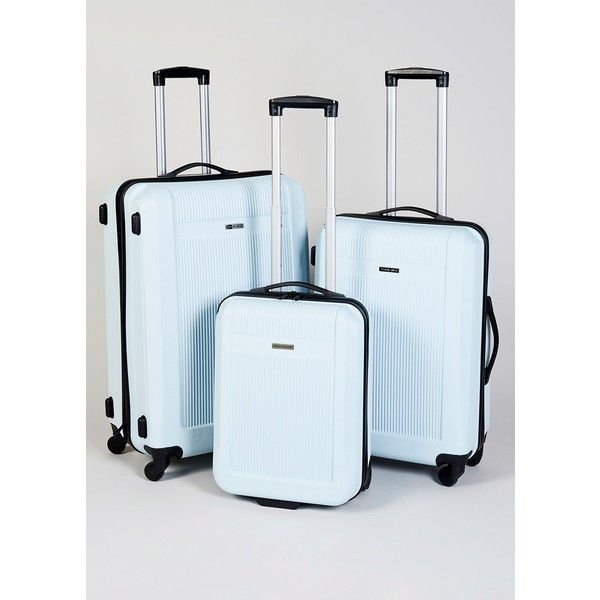See this and similar luggage - This ultra strong hard shell case in ice blue is light as well as strong and is fitted with a telescopic handle for easy travel a...