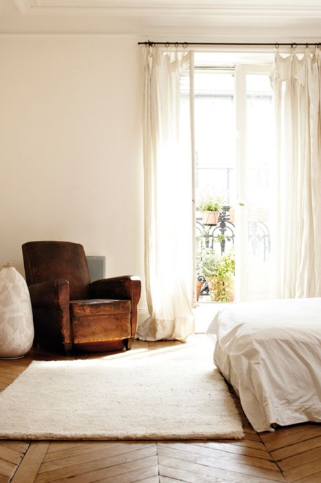cozy: Paris Apartment, Curtains, Clean, Interiors, White Bedrooms, Club Chairs, Leather Armchairs, Herringbone Floors, Leather Chairs
