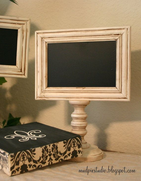 chalkboard pedestal frame. So easy to make with $ tree candlesticks and cheap frams