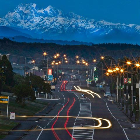 Aorangi Mt Cook from Fitzherbert Street, Hokitika at dusk.