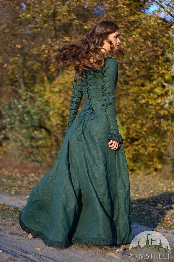 Medieval Renaissance Flax Linen Dress Autumn Princess di armstreet