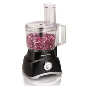 Hamilton Beach 70740 8-Cup Food Processor: This inexpensive 8-cup food processor will let you slice, chop, grate and shred everything you want to. The processor has a 450 watt motor and two-speed pulse control which make the preparation of food both fast as well as easy. The lid can flip over, essentially turning it into compact storage for your kitchen.