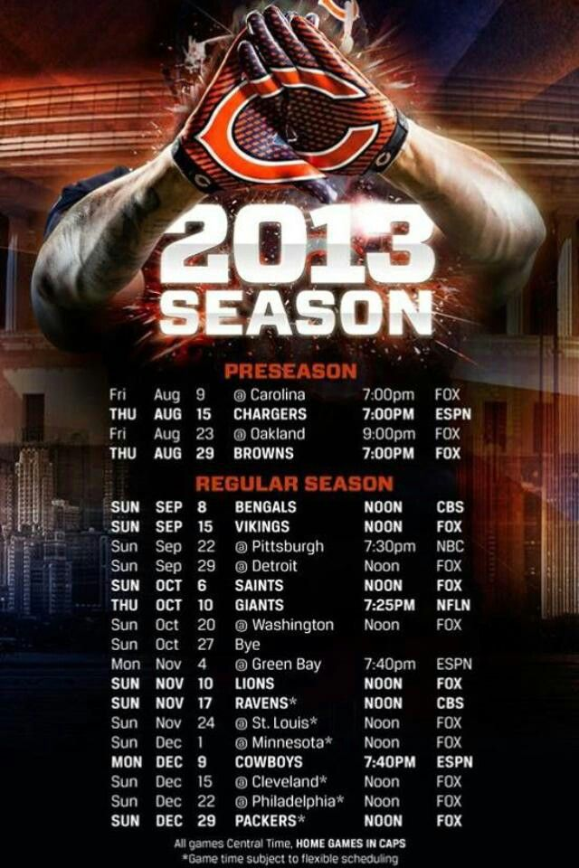 Chicago Bears 2013 Football Schedule
