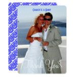 Greek Blue White Theme Wedding Photo Thank You Card