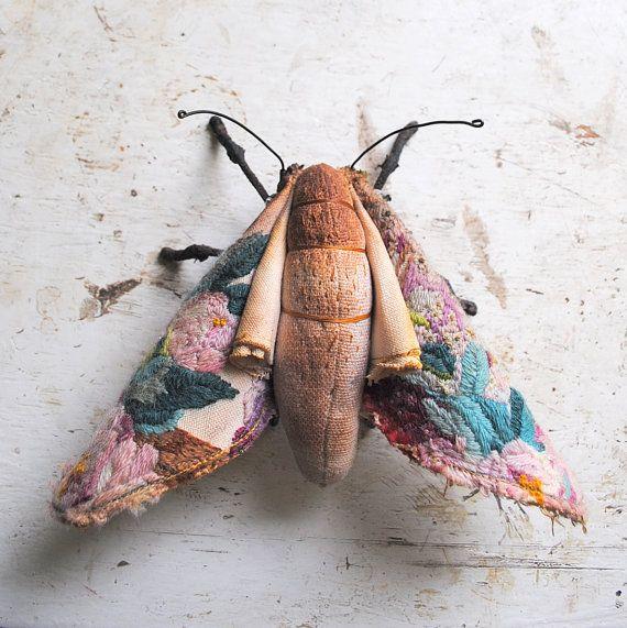 Soft sculpture moth Unique textile art by MisterFinch on Etsy