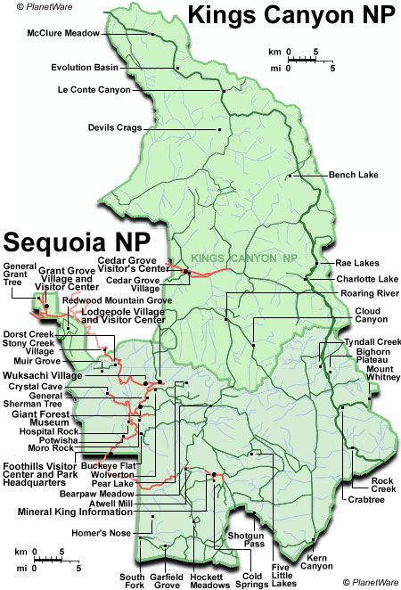 map of crescent meadow sequoia national park ca | ... attractions within Map of Kings Canyon and Sequoia National Parks Map